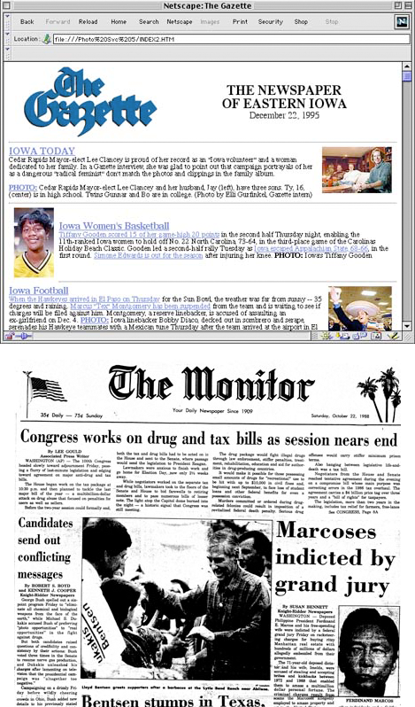 Reporting, editing, and 1st Gazette web editions